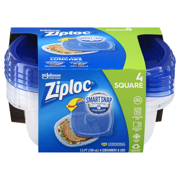 Ziploc One Press Seal Containers & Lids Square Small 24 oz ea