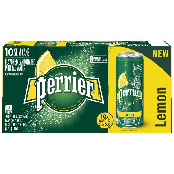 Perrier Carbonated Mineral Water Lemon Flavored - 10 pk