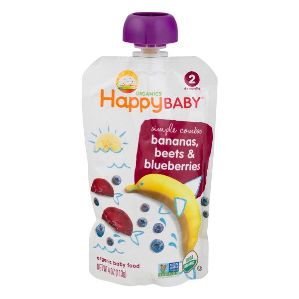 HappyBaby Simple Combos Stage 2 Baby Food Bananas, Beets & Blueberries
