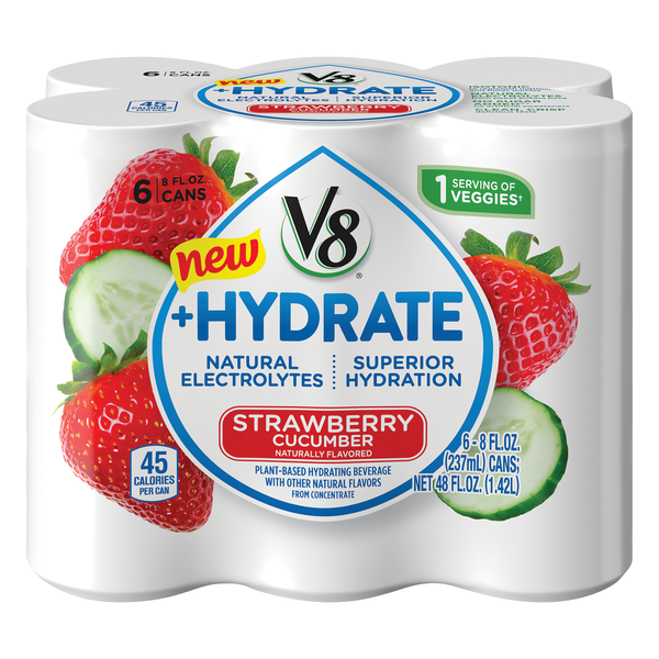 V8 +Hydrate Plant-Based Hydrating Beverage Strawberry Cucumber - 6 pk