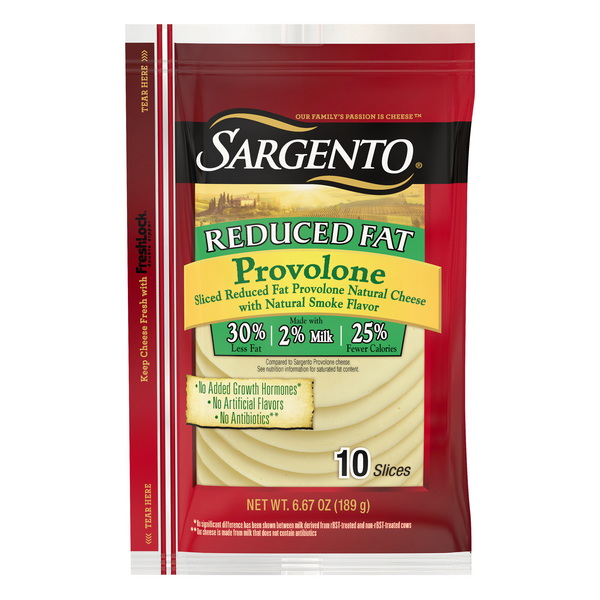 Sargento Provolone Cheese Smoked Reduced Fat Slices - 10 ct