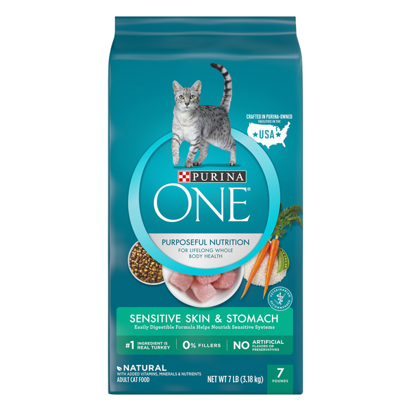 Purina ONE Sensitive Skin & Stomach Adult Dry Cat Food Turkey