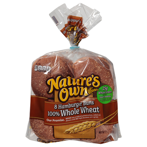 Nature's Own Hamburger Rolls 100% Whole Wheat - 8 ct