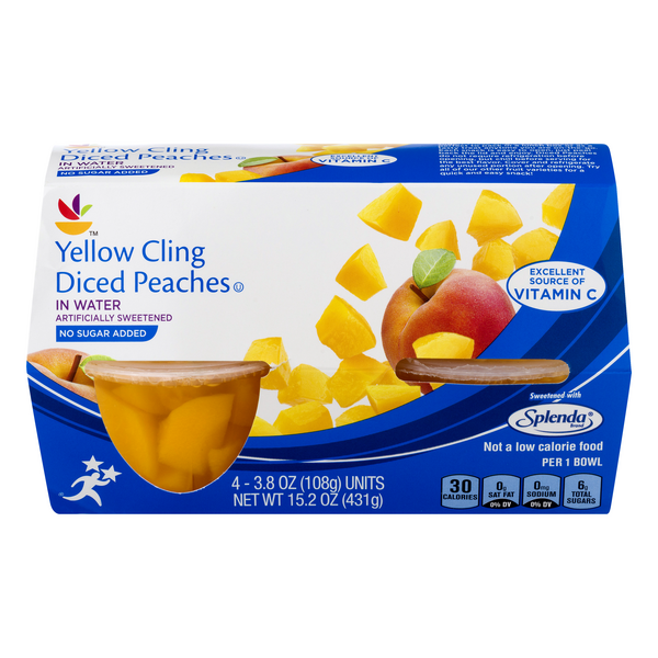 MARTIN'S Fruit Cups Peaches Diced in Water No Sugar Added - 4 ct