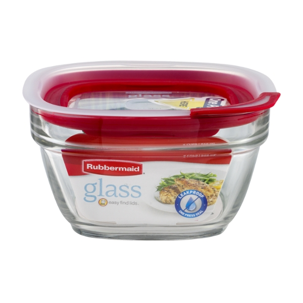 Rubbermaid Easy Find Lids Oven Safe Glass Food Storage Container 4 Cup