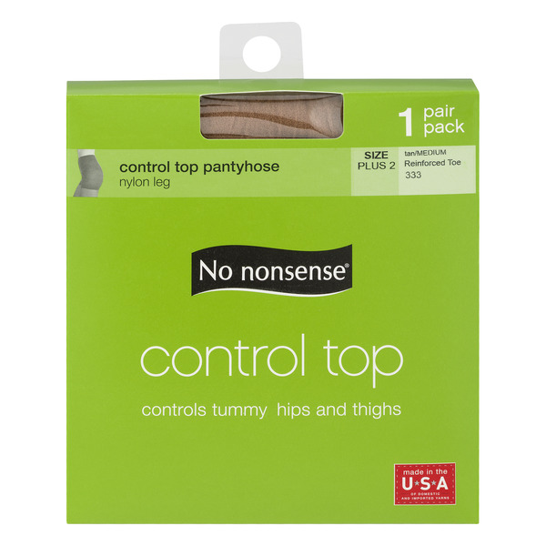 No Nonsense Control Top Pantyhose Tan Size Plus 2