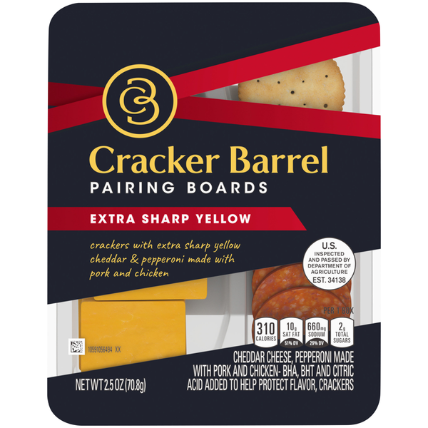 Cracker Barrel Crackers with Extra Sharp Yellow Cheddar & Pepperoni