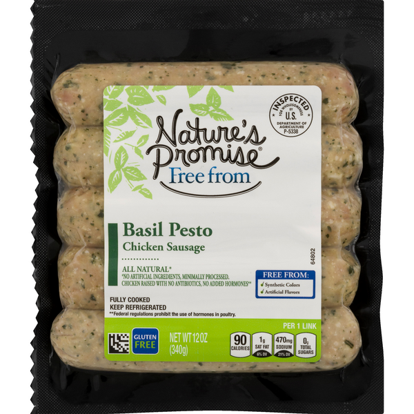 Nature's Promise Free from Chicken Sausage Basil Pesto Gluten Free - 5 ct