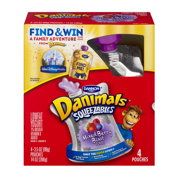 Dannon Danimals Squeezables Yogurt Mixed Berry Blast - 4 ct