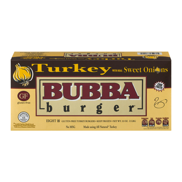 Bubba Burger Turkey with Real Sweet Onions - 8 ct Frozen