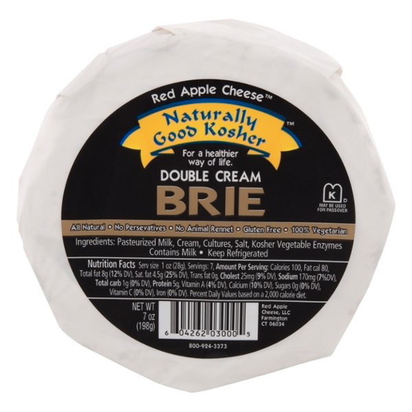Naturally Good Kosher Brie Cheese Double Cream Wheel