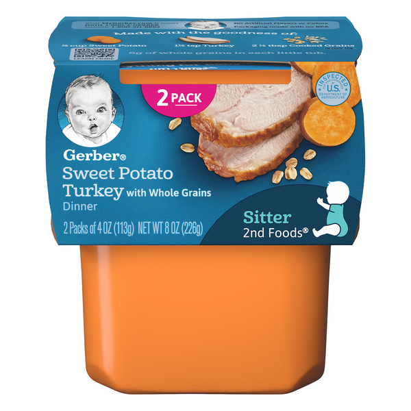 Gerber 2nd Baby Food Sweet Potato Turkey Dinner with Whole Grains - 2 ct