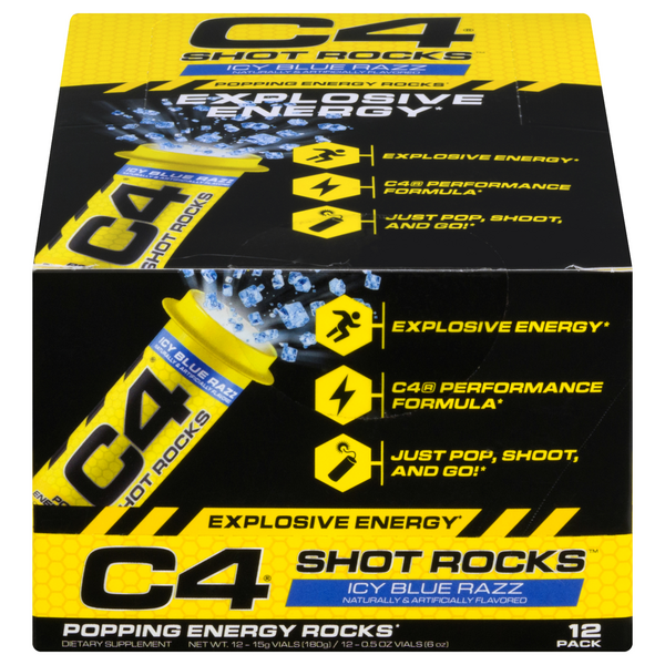 Cellucor C4 Shot Rocks Popping Energy Rocks Ice Blue Razz - 12 pk