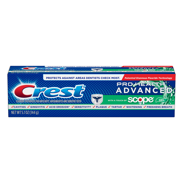 Crest Pro-Health Advanced Fluoride with Scope Gel Toothpaste