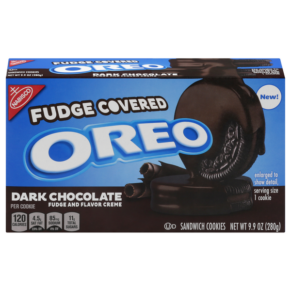 Nabisco Oreo Sandwich Cookies Fudge Covered Dark Chocolate