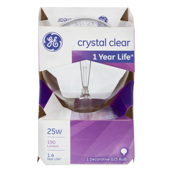 GE Decorative Light Bulb Globe Crystal Clear 25 Watt