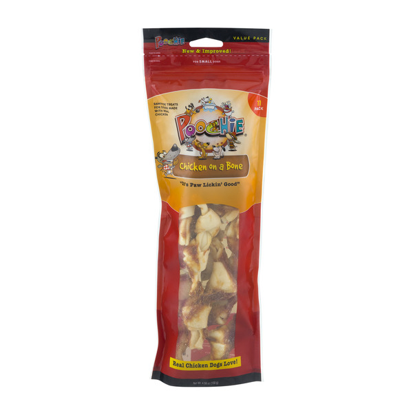 Poochie Chicken On A Bone Rawhide Treats For Small Dogs
