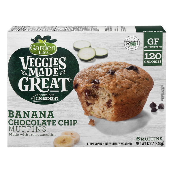 Garden Lites Veggies Made Great Muffins Banana Chocolate Chip - 6 ct