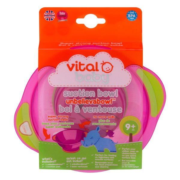 Vital Baby Suction Bowl Unbelievabowl Pink - 9+M