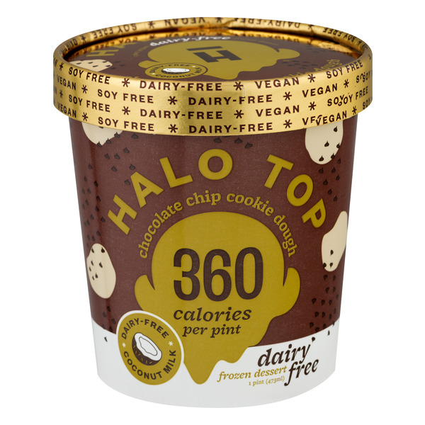 Halo Top Dairy Free Frozen Dessert Chocolate Chip Cookie Dough