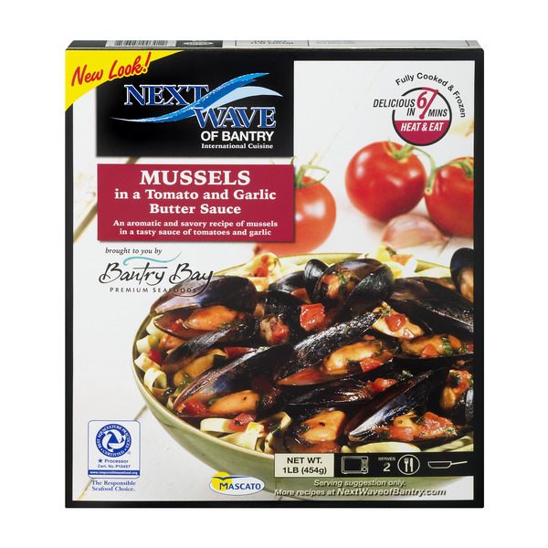 Bantry Bay Mussels in Tomato & Garlic Butter Sauce Cooked & Frozen