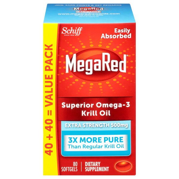MegaRed Omega-3 Krill Oil Extra Strength 500 mg Softgels