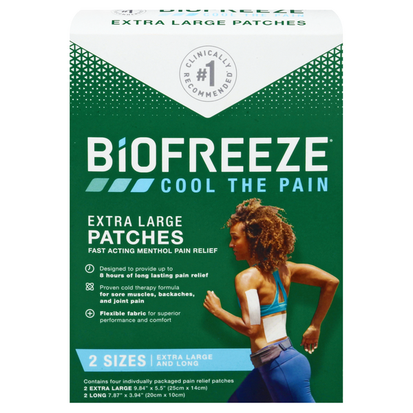 Biofreeze Menthol Pain Relief Patches Extra Large
