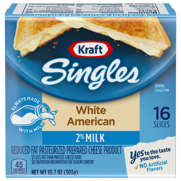 Kraft Singles White American Cheese 2% Milk Reduced Fat - 16 ct