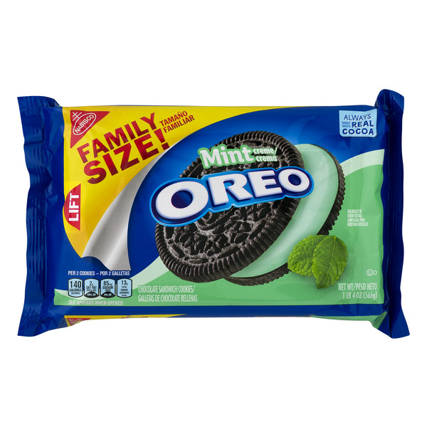 Nabisco Oreo Sandwich Cookies Mint Family Size