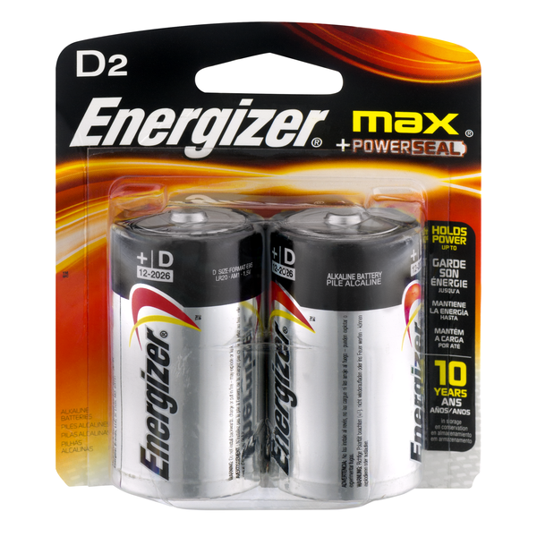 Energizer Max + Powerseal Batteries Size D
