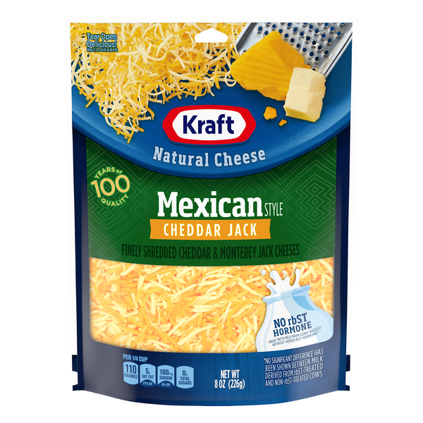 Kraft Mexican Style Cheddar Jack Cheese Finely Shredded Natural