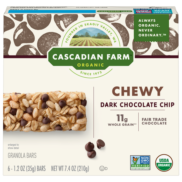 Cascadian Farm Organic Chewy Granola Bars Dark Chocolate Chip - 6 ct