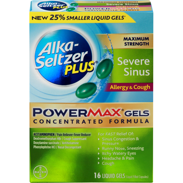 Alka-Seltzer Plus Liquid Gels Max Strength Severe Sinus Allergy & Cough