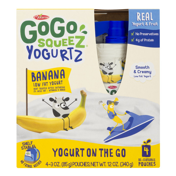 GoGo squeeZ Yogurtz on the Go Pouches Banana Low Fat - 4 ct