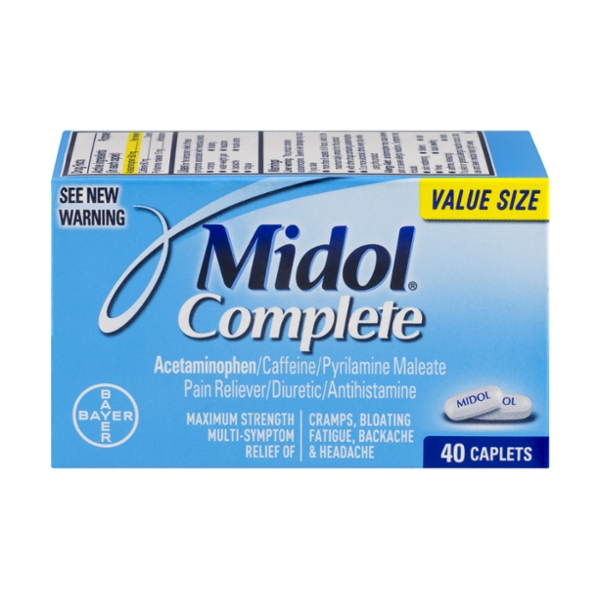 Midol Complete Multi-Symptom Relief Maximum Strength Caplets Value Size