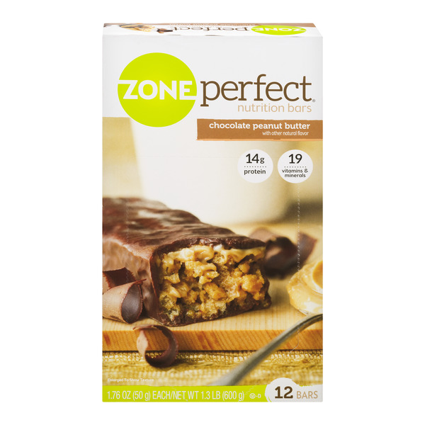 ZonePerfect Nutrition Bars Chocolate Peanut Butter All Natural - 12 ct