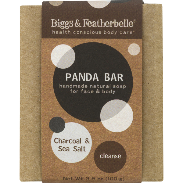 Biggs & Featherbelle Panda Bar Soap Face & Body Cleanse Charcoal/Sea Salt
