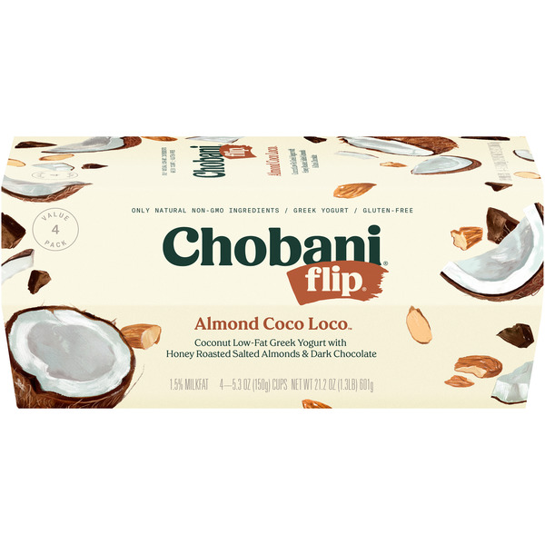 Chobani Flip Greek Yogurt Almond Coco Loco Low Fat Natural - 4 pk
