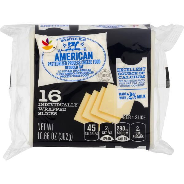 MARTIN'S American Cheese Food White 2% Milk Reduced Fat Singles - 16 ct
