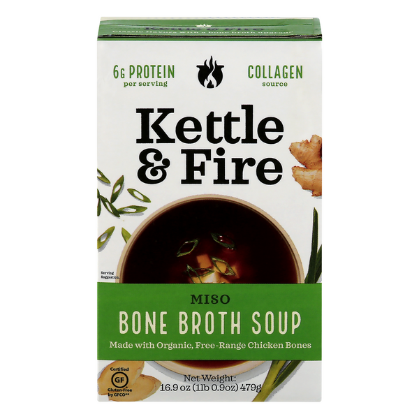 Kettle & Fire Free Range Chicken Bone Broth Soup Miso Gluten Free