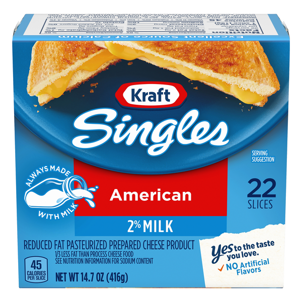 Kraft American Cheese 2% Milk Reduced Fat Singles - 22 ct