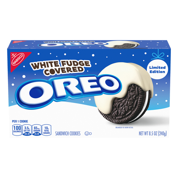 Nabisco Oreo Chocolate Sandwich Cookies White Fudge Covered