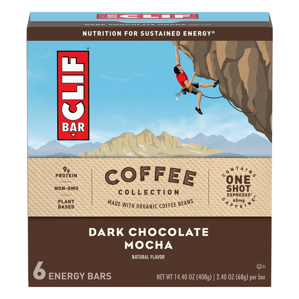 Clif Coffee Collection Energy Bar Dark Chocolate Mocha - 6 ct