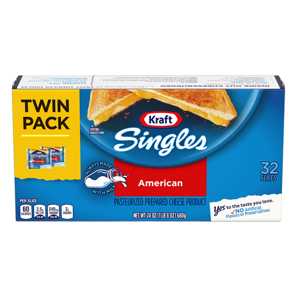 Kraft Singles American Cheese Slices Twin Pack - 32 ct