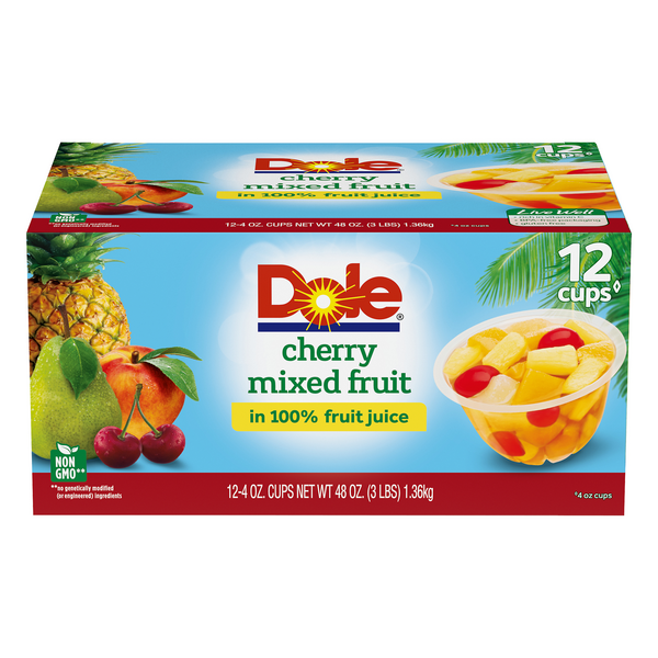 Dole Fruit Bowls Mixed Fruit Cherry in 100% Juice - 12 ct
