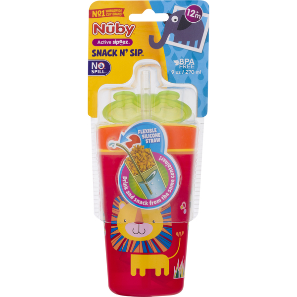 Nuby Snack N' Sip 9 oz (Colors May Vary)