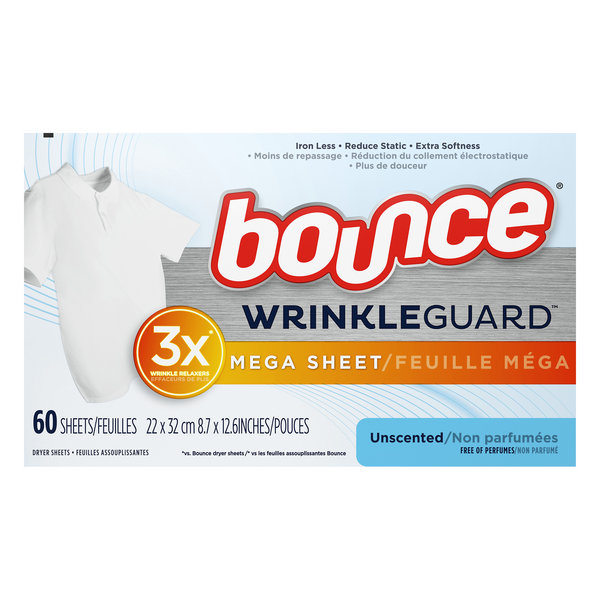 Bounce WrinkleGuard Mega Dryer Sheets Unscented