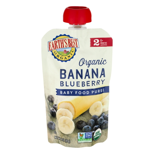 Earth's Best Stage 2 Baby Food Puree Banana Blueberry Organic