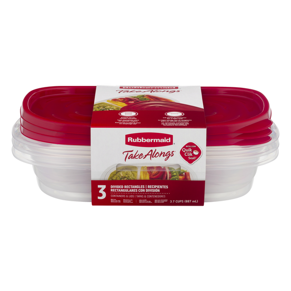Rubbermaid TakeAlongs Containers & Lids Divided Rectangle