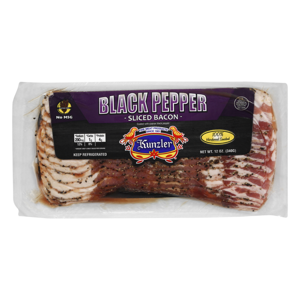 Kunzler Authentic Selects Bacon Center Cut with Black Pepper